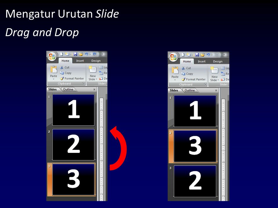 Mengatur Urutan Slide Drag and Drop