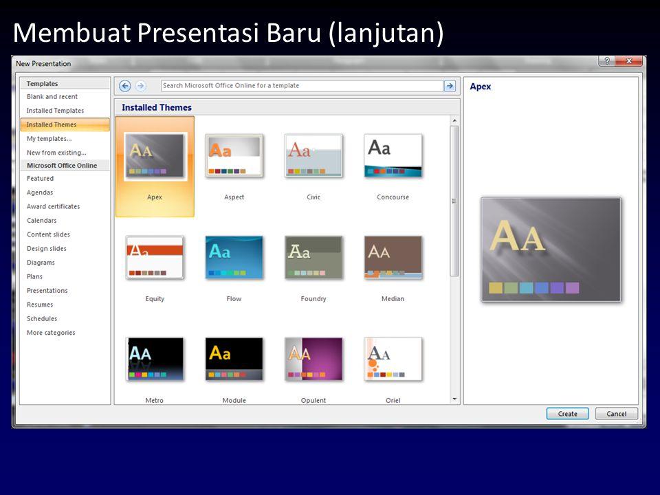 Hyperlink Hyperlink (link) menghubungkan teks, gambar, atau objek presentasi lainnya ke : Slide lain dalam satu presentasi Presentasi lain Aplikasi File dengan format lain Alamat web