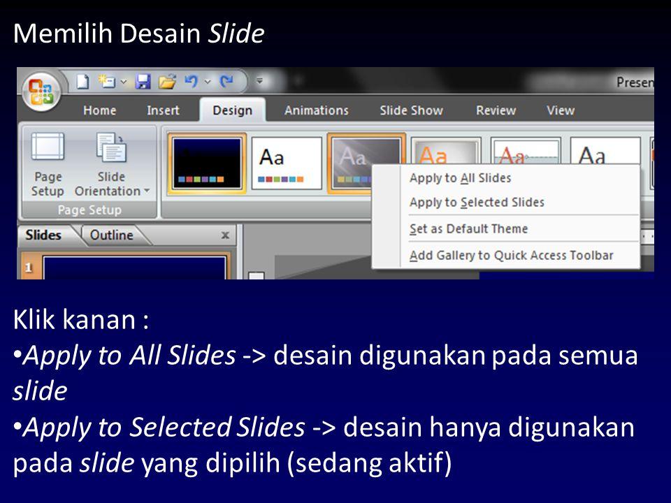 Hyperlink (lanjutan) Pilih objek yang akan diberi link Insert -> Hyperlink atau, klik kanan pada objek yang akan diberi link