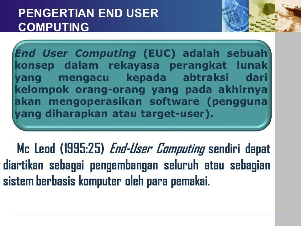 PENGERTIAN END USER COMPUTING End User Computing (EUC) adalah sebuah konsep dalam rekayasa perangkat lunak yang mengacu kepada abtraksi dari kelompok
