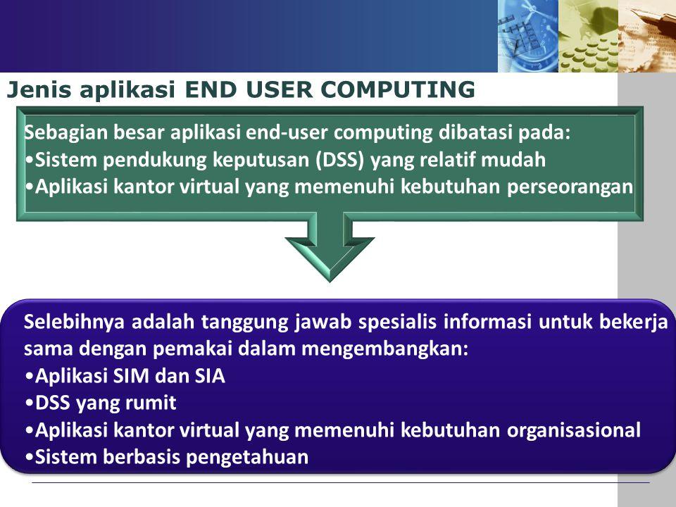 Jenis aplikasi END USER COMPUTING Sebagian besar aplikasi end-user computing dibatasi pada: Sistem pendukung keputusan (DSS) yang relatif mudah Aplika