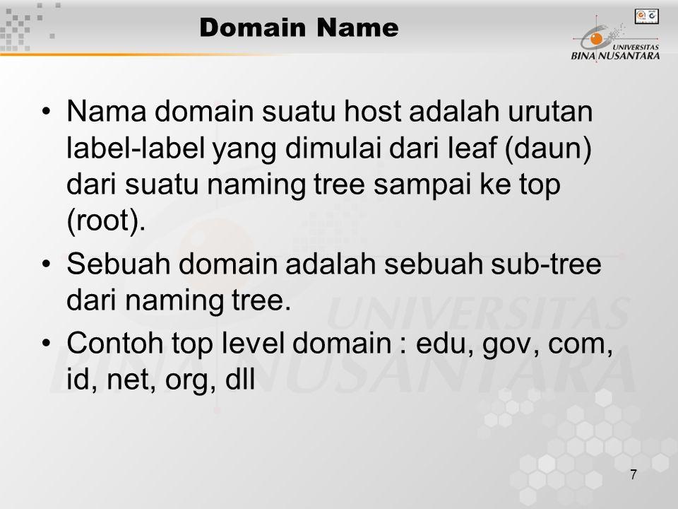 7 Domain Name Nama domain suatu host adalah urutan label-label yang dimulai dari leaf (daun) dari suatu naming tree sampai ke top (root). Sebuah domai