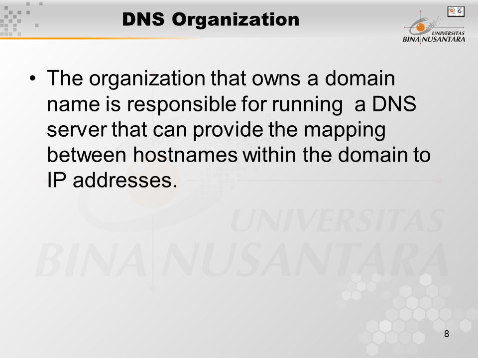 9 DNS Distributed Database There is one primary server for a domain, and typically a number of secondary servers containing replicated databases