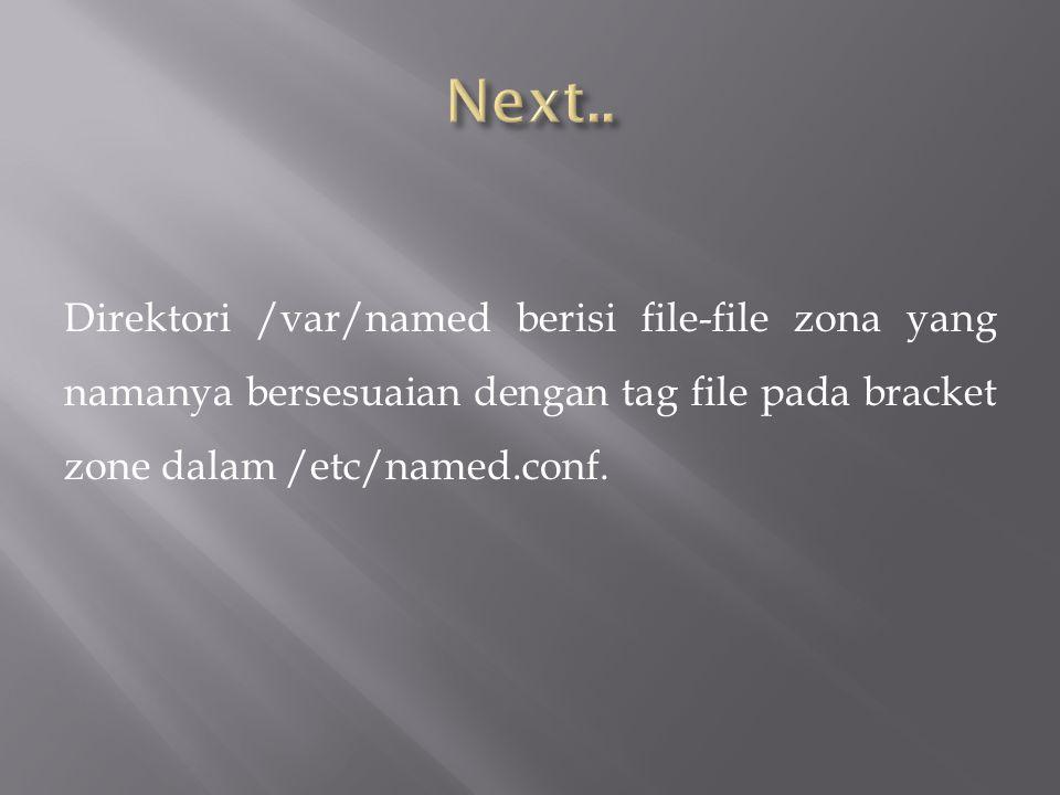 Direktori /var/named berisi file-file zona yang namanya bersesuaian dengan tag file pada bracket zone dalam /etc/named.conf.