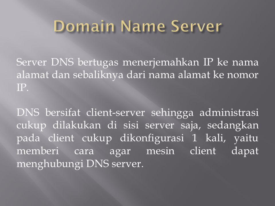 Server DNS bertugas menerjemahkan IP ke nama alamat dan sebaliknya dari nama alamat ke nomor IP.