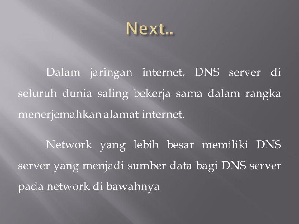 Dalam jaringan internet, DNS server di seluruh dunia saling bekerja sama dalam rangka menerjemahkan alamat internet.