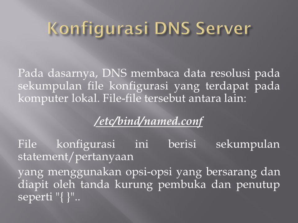 Pada dasarnya, DNS membaca data resolusi pada sekumpulan file konfigurasi yang terdapat pada komputer lokal.