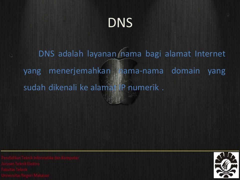 DNS adalah layanan nama bagi alamat Internet yang menerjemahkan nama-nama domain yang sudah dikenali ke alamat IP numerik. DNS