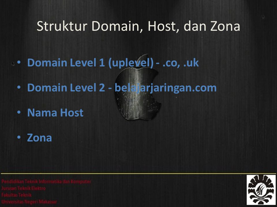 Domain Level 1 (uplevel) -.co,.uk Domain Level 2 - belajarjaringan.com Nama Host Zona Struktur Domain, Host, dan Zona