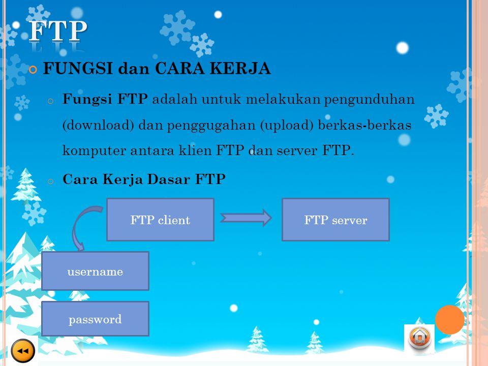 FUNGSI dan CARA KERJA o Fungsi FTP adalah untuk melakukan pengunduhan (download) dan penggugahan (upload) berkas-berkas komputer antara klien FTP dan server FTP.