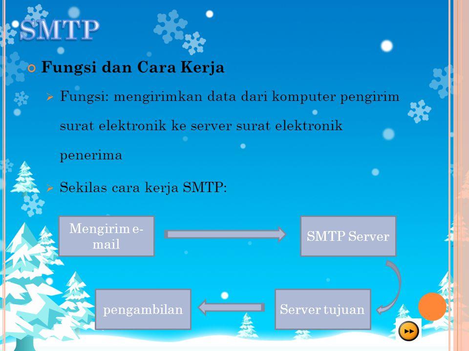 Fungsi dan Cara Kerja  Fungsi: mengirimkan data dari komputer pengirim surat elektronik ke server surat elektronik penerima  Sekilas cara kerja SMTP: Mengirim e- mail Server tujuanpengambilan SMTP Server