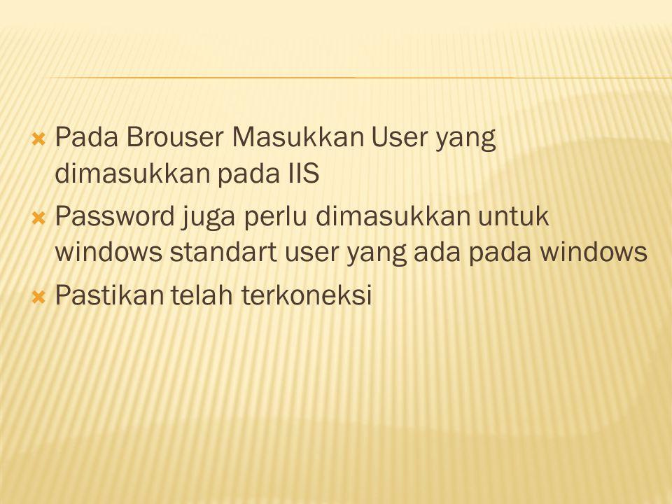  Pada Brouser Masukkan User yang dimasukkan pada IIS  Password juga perlu dimasukkan untuk windows standart user yang ada pada windows  Pastikan te