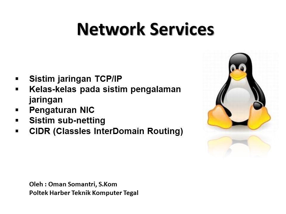 Network Services  Sistim jaringan TCP/IP  Kelas-kelas pada sistim pengalaman jaringan  Pengaturan NIC  Sistim sub-netting  CIDR (Classles InterDomain Routing) Oleh : Oman Somantri, S.Kom Poltek Harber Teknik Komputer Tegal
