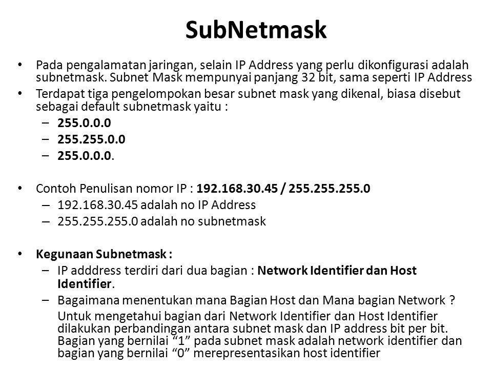 SubNetmask Pada pengalamatan jaringan, selain IP Address yang perlu dikonfigurasi adalah subnetmask. Subnet Mask mempunyai panjang 32 bit, sama sepert