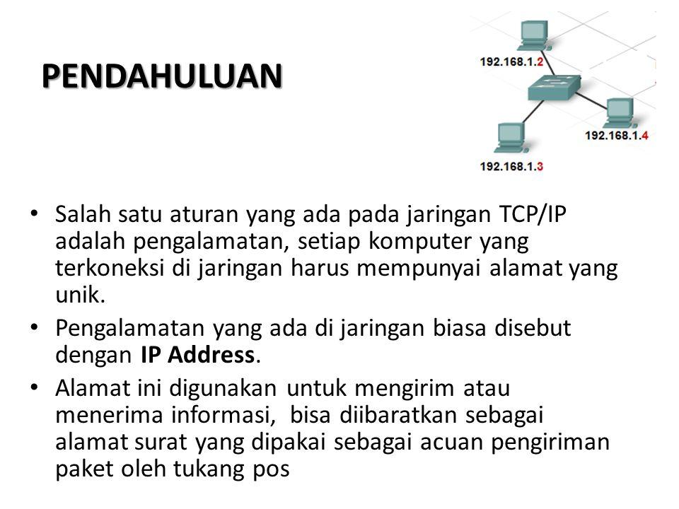 PENDAHULUAN Salah satu aturan yang ada pada jaringan TCP/IP adalah pengalamatan, setiap komputer yang terkoneksi di jaringan harus mempunyai alamat yang unik.