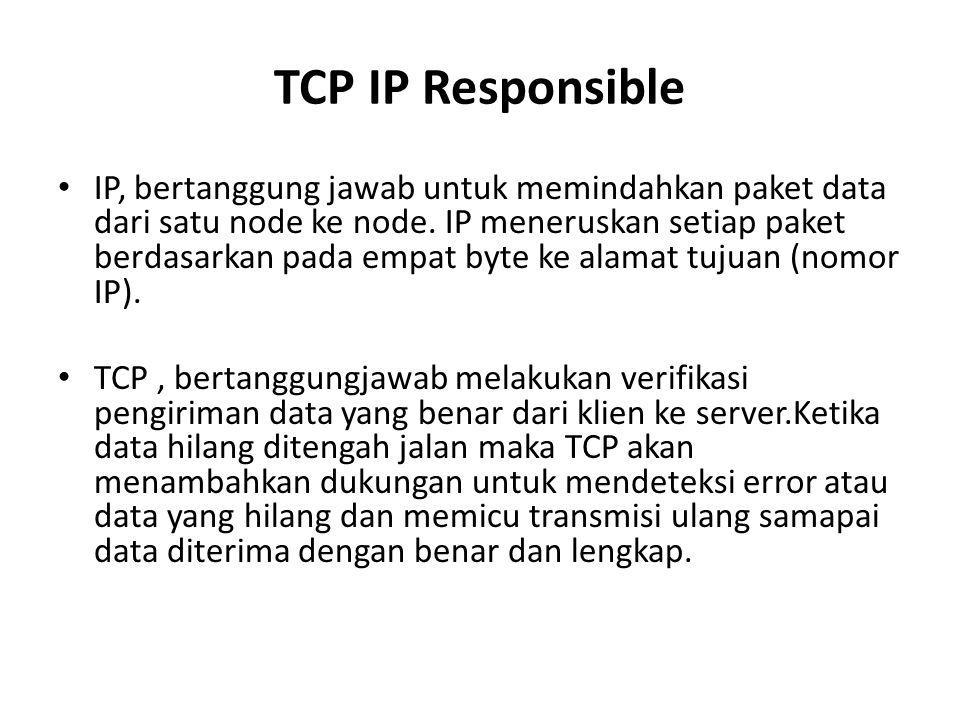 TCP IP Responsible IP, bertanggung jawab untuk memindahkan paket data dari satu node ke node. IP meneruskan setiap paket berdasarkan pada empat byte k