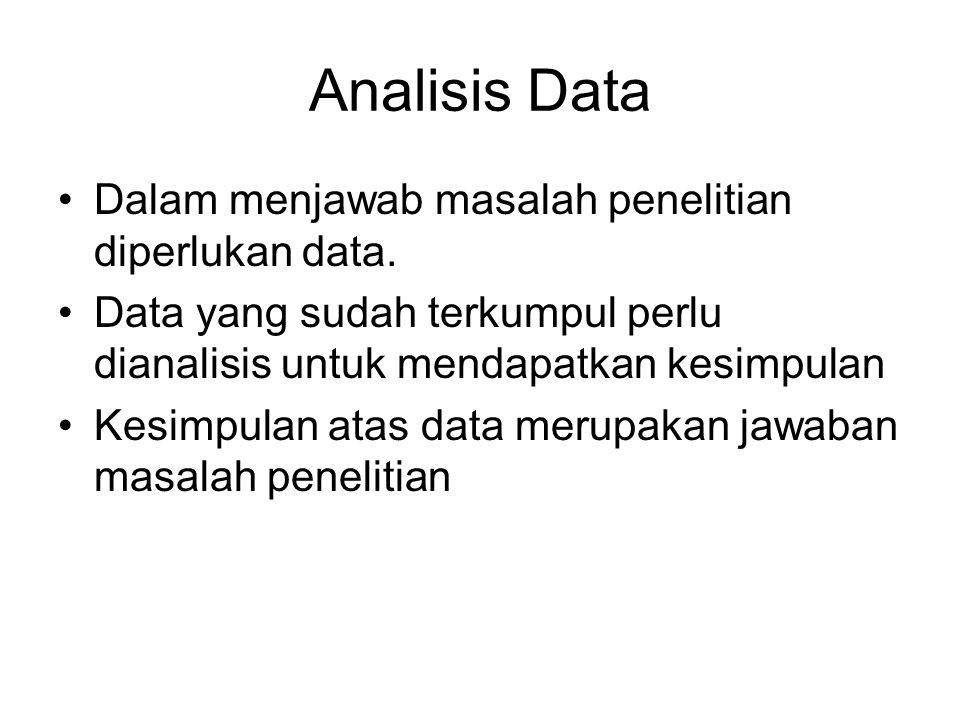 Analisis Data Dalam menjawab masalah penelitian diperlukan data. Data yang sudah terkumpul perlu dianalisis untuk mendapatkan kesimpulan Kesimpulan at