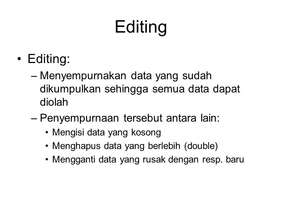 Editing Editing: –Menyempurnakan data yang sudah dikumpulkan sehingga semua data dapat diolah –Penyempurnaan tersebut antara lain: Mengisi data yang k