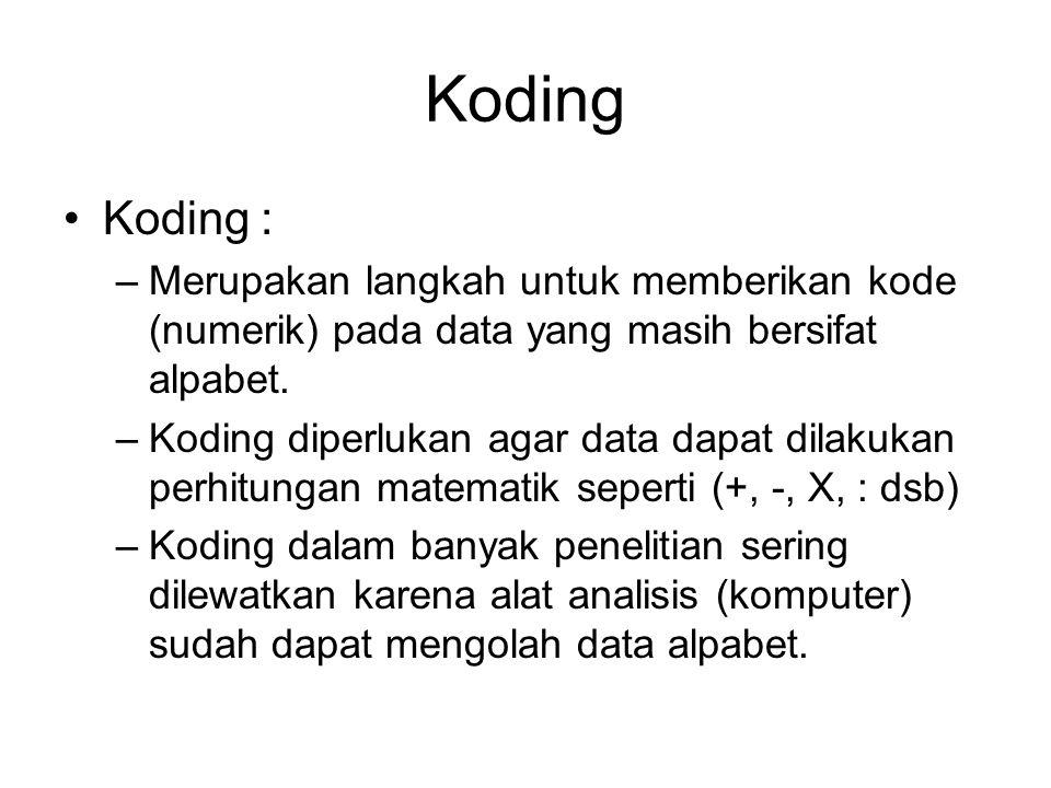 Koding Koding : –Merupakan langkah untuk memberikan kode (numerik) pada data yang masih bersifat alpabet. –Koding diperlukan agar data dapat dilakukan