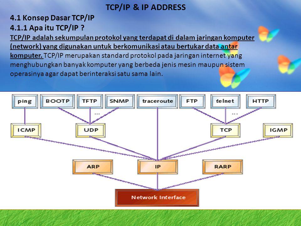 TCP/IP & IP ADDRESS 4.1 Konsep Dasar TCP/IP 4.1.1 Apa itu TCP/IP ? TCP/IP adalah sekumpulan protokol yang terdapat di dalam jaringan komputer (network