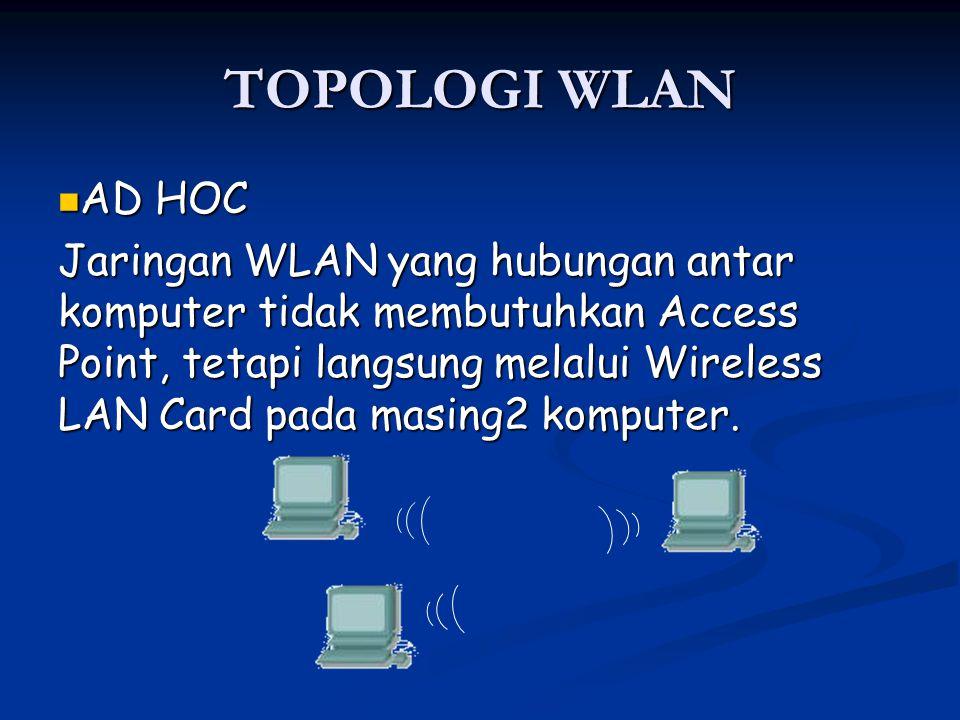 TOPOLOGI WLAN AD HOC AD HOC Jaringan WLAN yang hubungan antar komputer tidak membutuhkan Access Point, tetapi langsung melalui Wireless LAN Card pada