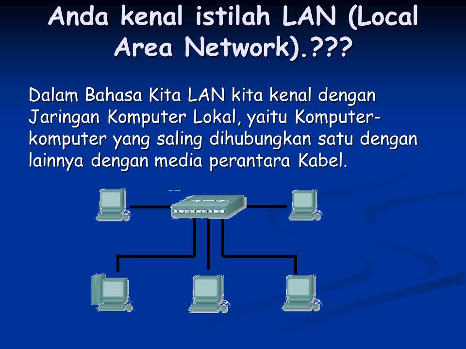 Anda kenal istilah LAN (Local Area Network).??? Dalam Bahasa Kita LAN kita kenal dengan Jaringan Komputer Lokal, yaitu Komputer- komputer yang saling
