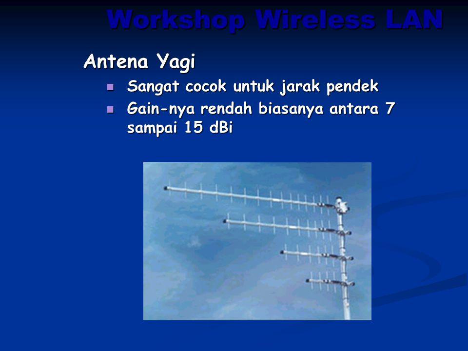 Antena Yagi Sangat cocok untuk jarak pendek Sangat cocok untuk jarak pendek Gain-nya rendah biasanya antara 7 sampai 15 dBi Gain-nya rendah biasanya a