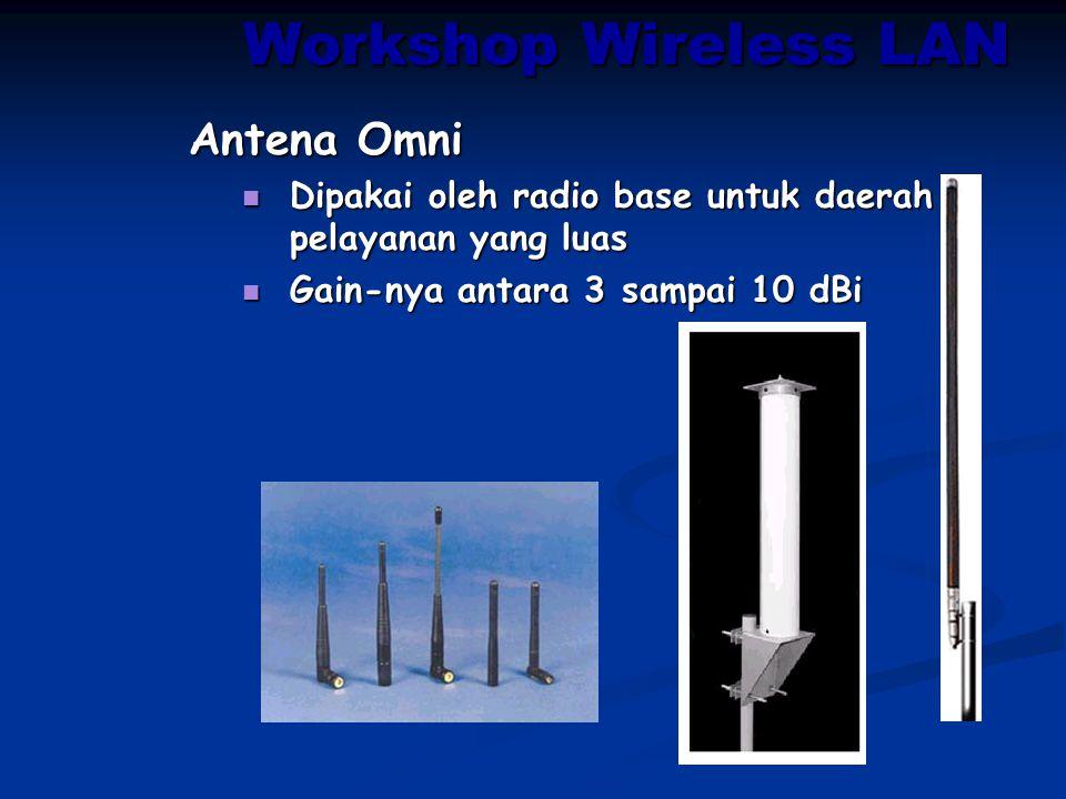 Workshop Wireless LAN Antena Omni Dipakai oleh radio base untuk daerah pelayanan yang luas Dipakai oleh radio base untuk daerah pelayanan yang luas Ga