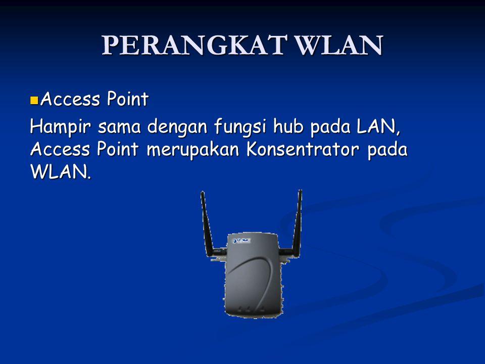 PERANGKAT WLAN Access Point Access Point Hampir sama dengan fungsi hub pada LAN, Access Point merupakan Konsentrator pada WLAN.