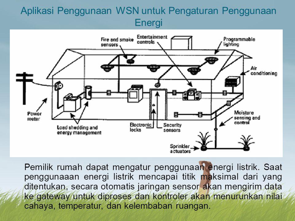 Aplikasi Penggunaan WSN untuk Pengaturan Penggunaan Energi Pemilik rumah dapat mengatur penggunaan energi listrik. Saat penggunaaan energi listrik men