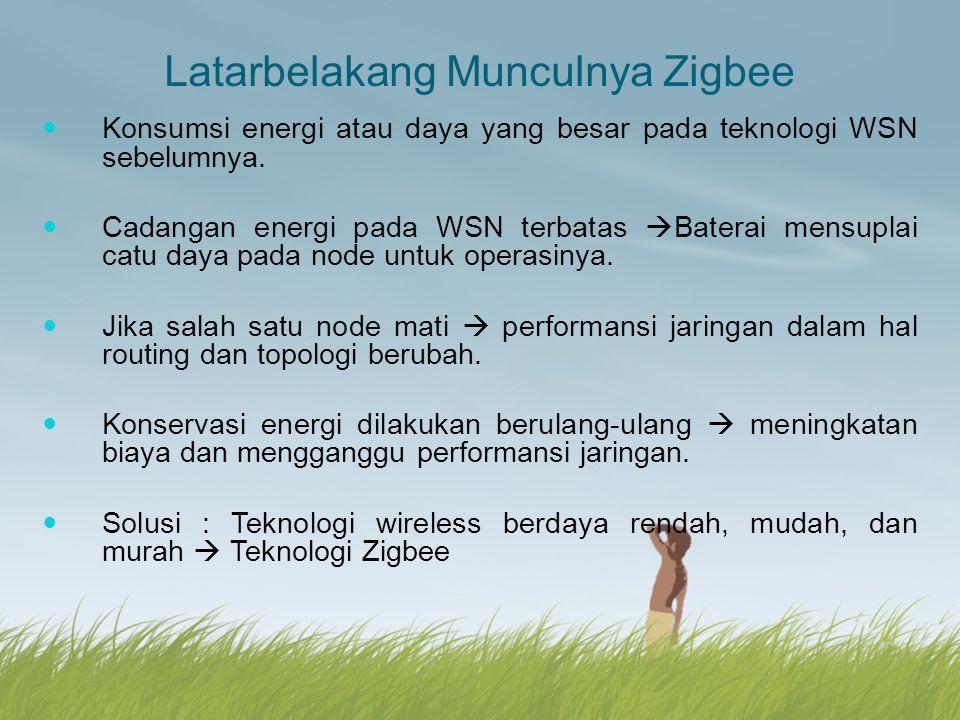 Latarbelakang Munculnya Zigbee Konsumsi energi atau daya yang besar pada teknologi WSN sebelumnya. Cadangan energi pada WSN terbatas  Baterai mensupl
