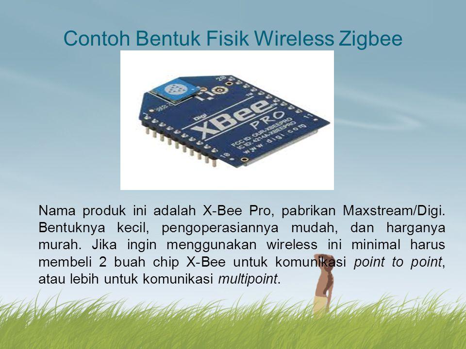 Contoh Bentuk Fisik Wireless Zigbee Nama produk ini adalah X-Bee Pro, pabrikan Maxstream/Digi. Bentuknya kecil, pengoperasiannya mudah, dan harganya m