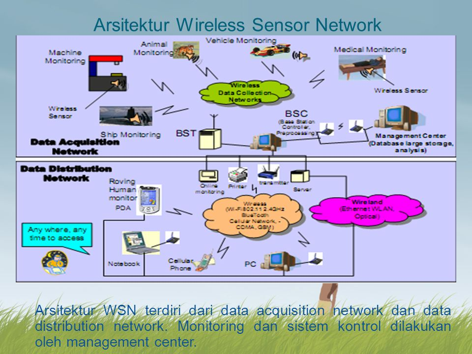 Komponen hardware dalam Wireless Sensor Network terdiri dari : Sensorboard : contoh tipe MTS240 Mode Processor : contoh Mote (MPR 2400) Gateway : contoh tipe MIB 600 untuk komunikasi jaringan sensor dan interface ethernet programming board (EPRB) untuk komunikasi server.