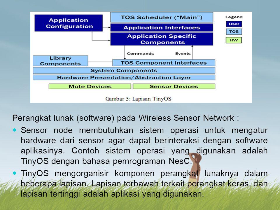 Perangkat lunak (software) pada Wireless Sensor Network : Sensor node membutuhkan sistem operasi untuk mengatur hardware dari sensor agar dapat berint
