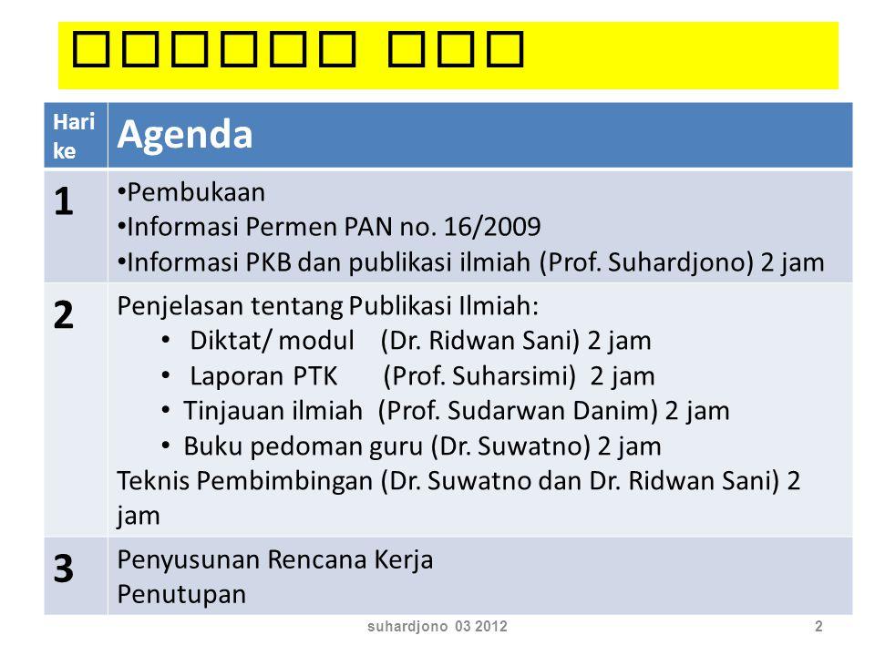 Hari ke Agenda 1 Pembukaan Informasi Permen PAN no. 16/2009 Informasi PKB dan publikasi ilmiah (Prof. Suhardjono) 2 jam 2 Penjelasan tentang Publikasi
