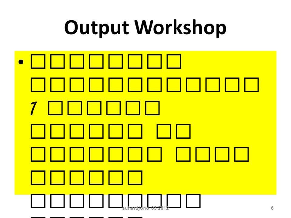 Output Workshop Kelompok menghasilkan 1 naskah sesuai dg pilihan dari materi publikasi ilmiah, dan hasil mandiri setiap peserta suhardjono 03 20126