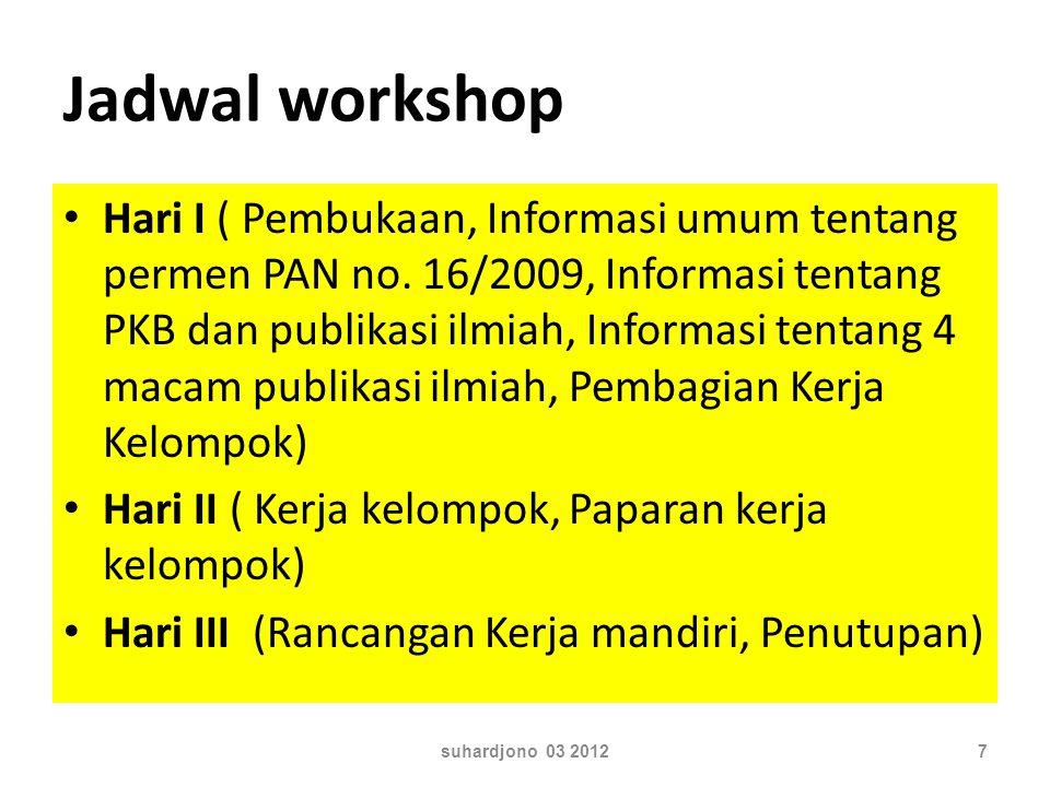 Jadwal workshop Hari I ( Pembukaan, Informasi umum tentang permen PAN no. 16/2009, Informasi tentang PKB dan publikasi ilmiah, Informasi tentang 4 mac