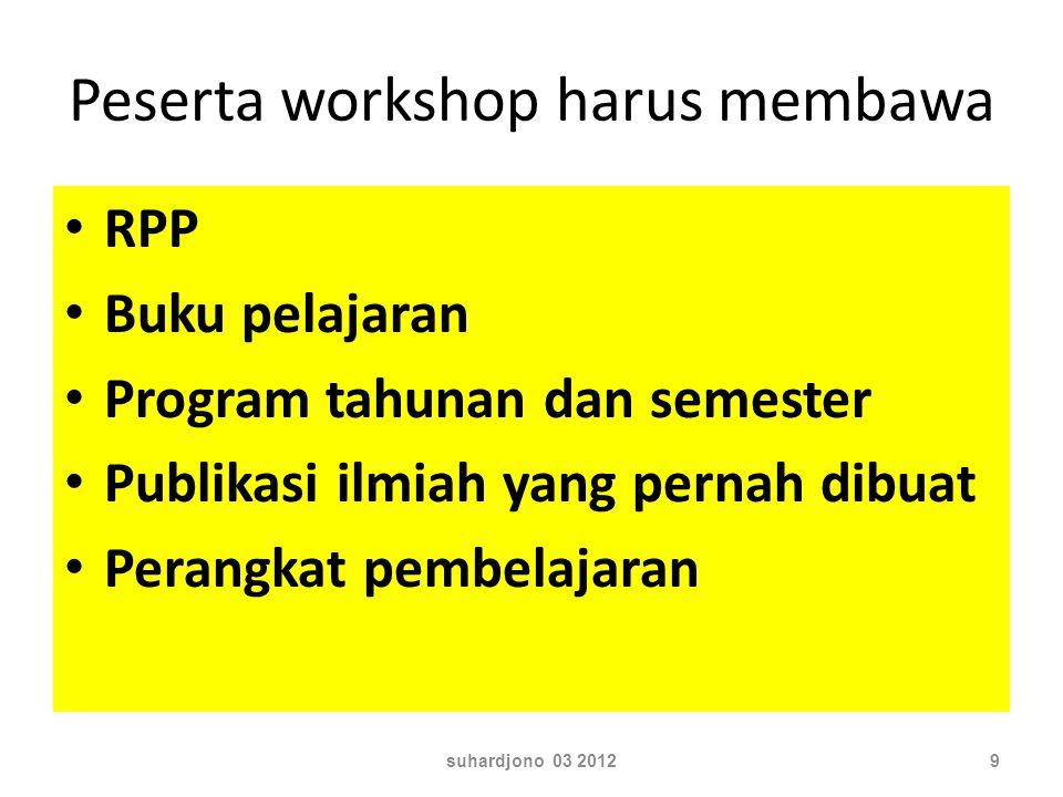 Peserta workshop harus membawa RPP Buku pelajaran Program tahunan dan semester Publikasi ilmiah yang pernah dibuat Perangkat pembelajaran suhardjono 03 20129