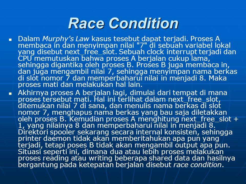 Race Condition Dalam Murphy's Law kasus tesebut dapat terjadi. Proses A membaca in dan menyimpan nilai