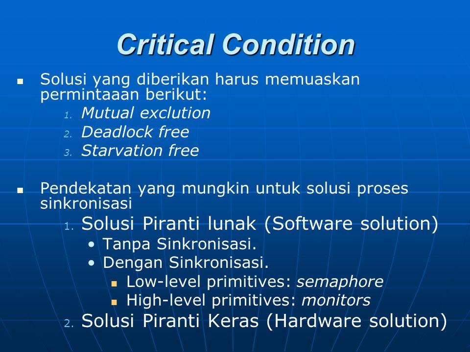 Critical Condition Solusi yang diberikan harus memuaskan permintaaan berikut: 1. 1. Mutual exclution 2. 2. Deadlock free 3. 3. Starvation free Pendeka