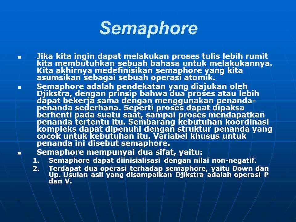Semaphore Jika kita ingin dapat melakukan proses tulis lebih rumit kita membutuhkan sebuah bahasa untuk melakukannya. Kita akhirnya medefinisikan sema