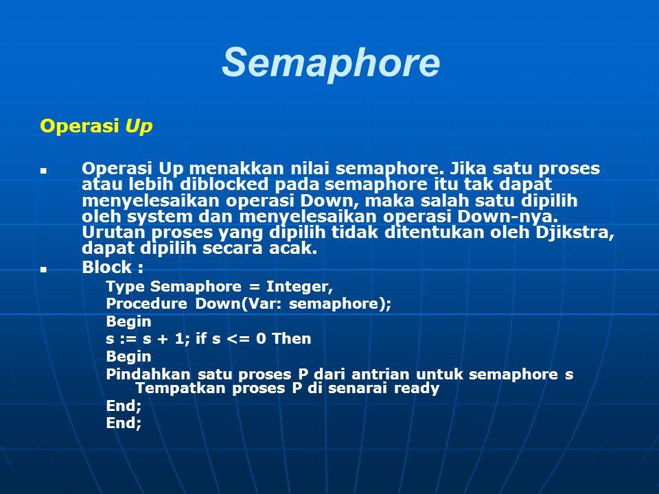 Semaphore Operasi Up Operasi Up menakkan nilai semaphore. Jika satu proses atau lebih diblocked pada semaphore itu tak dapat menyelesaikan operasi Dow