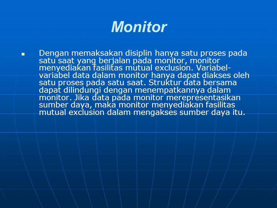 Monitor Dengan memaksakan disiplin hanya satu proses pada satu saat yang berjalan pada monitor, monitor menyediakan fasilitas mutual exclusion. Variab