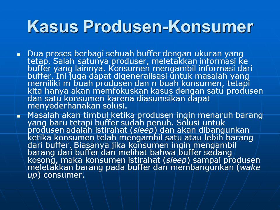 Kasus Produsen-Konsumer Dua proses berbagi sebuah buffer dengan ukuran yang tetap. Salah satunya produser, meletakkan informasi ke buffer yang lainnya