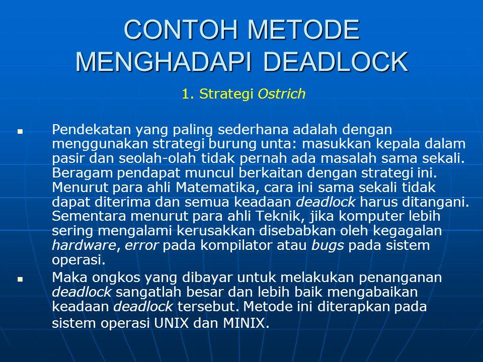 CONTOH METODE MENGHADAPI DEADLOCK 1. Strategi Ostrich Pendekatan yang paling sederhana adalah dengan menggunakan strategi burung unta: masukkan kepala