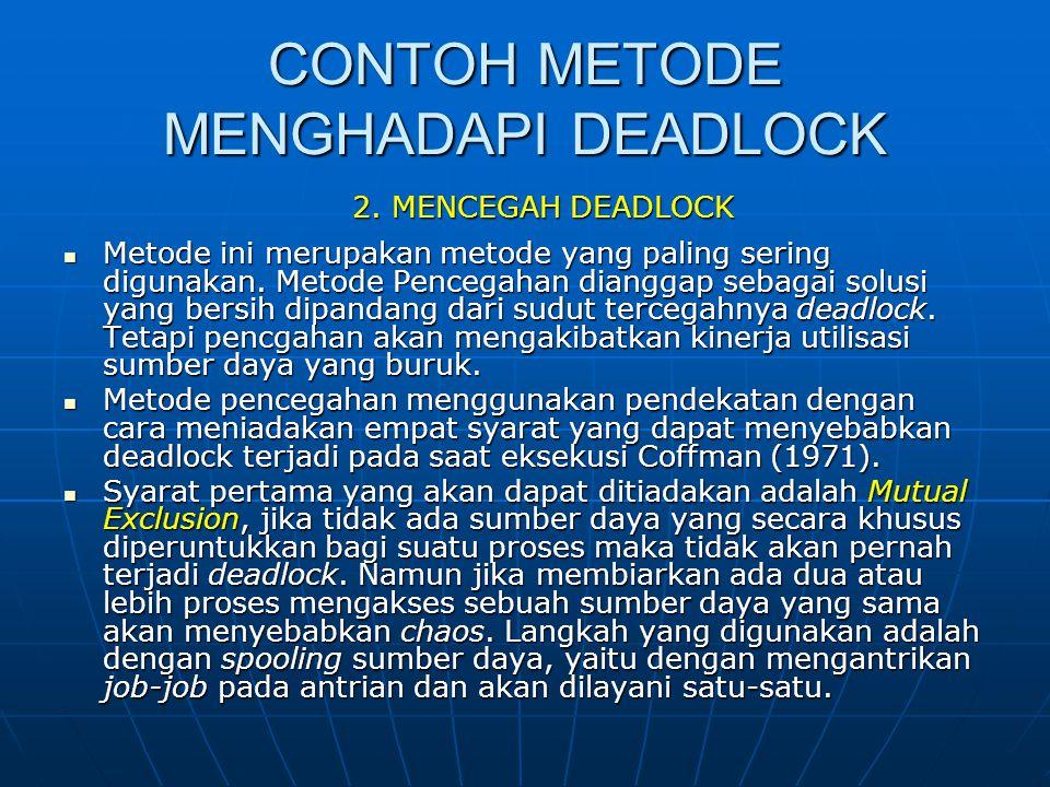 CONTOH METODE MENGHADAPI DEADLOCK Metode ini merupakan metode yang paling sering digunakan. Metode Pencegahan dianggap sebagai solusi yang bersih dipa