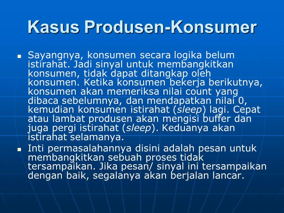 Kasus Produsen-Konsumer Sayangnya, konsumen secara logika belum istirahat. Jadi sinyal untuk membangkitkan konsumen, tidak dapat ditangkap oleh konsum