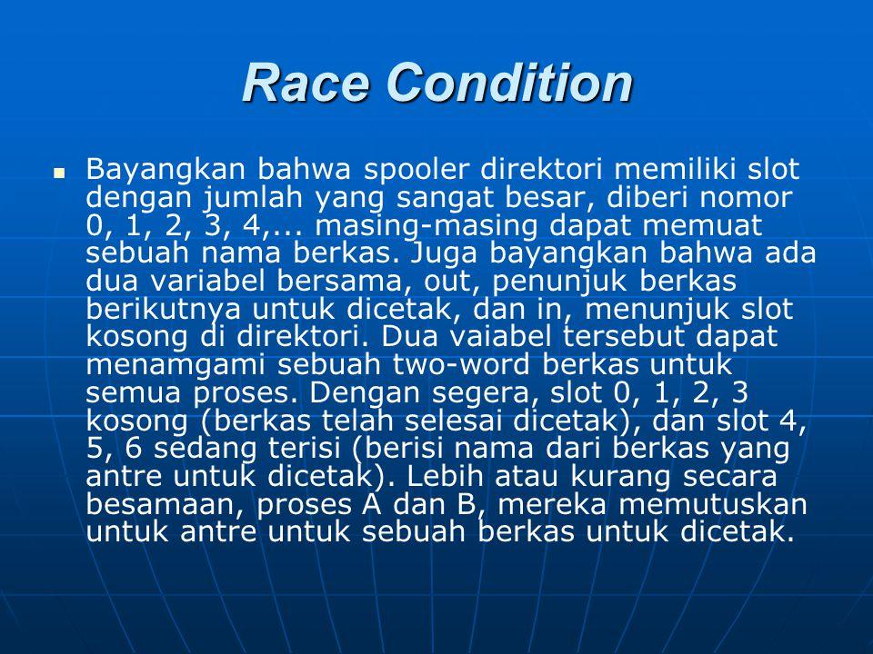 Race Condition Bayangkan bahwa spooler direktori memiliki slot dengan jumlah yang sangat besar, diberi nomor 0, 1, 2, 3, 4,... masing-masing dapat mem