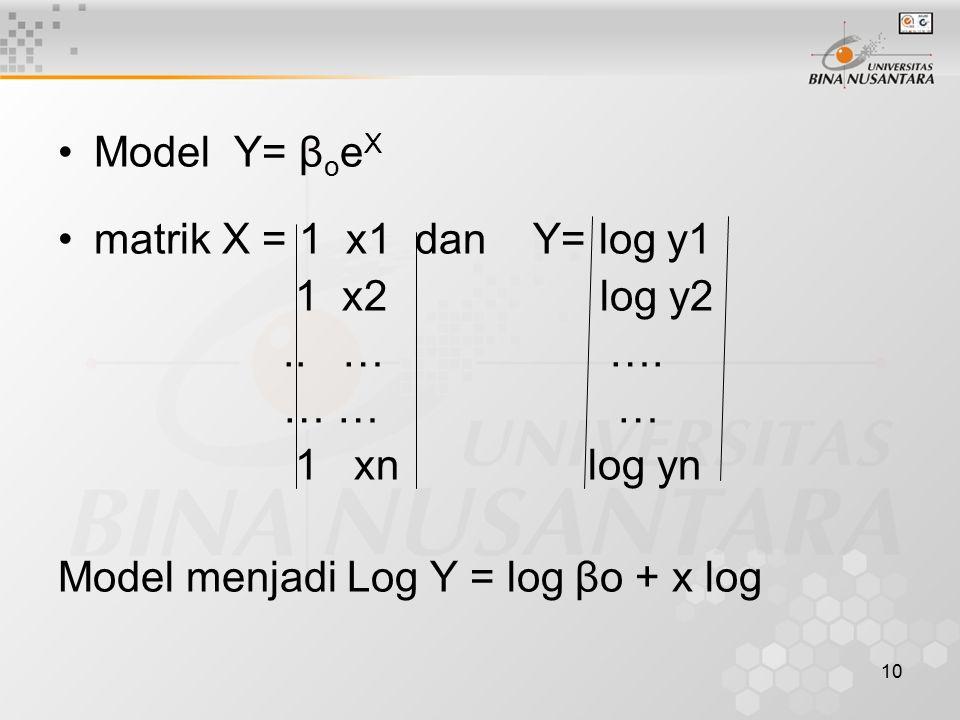10 Model Y= β o e X matrik X = 1 x1 dan Y= log y1 1 x2 log y2.. … …. … … … 1 xn log yn Model menjadi Log Y = log βo + x log