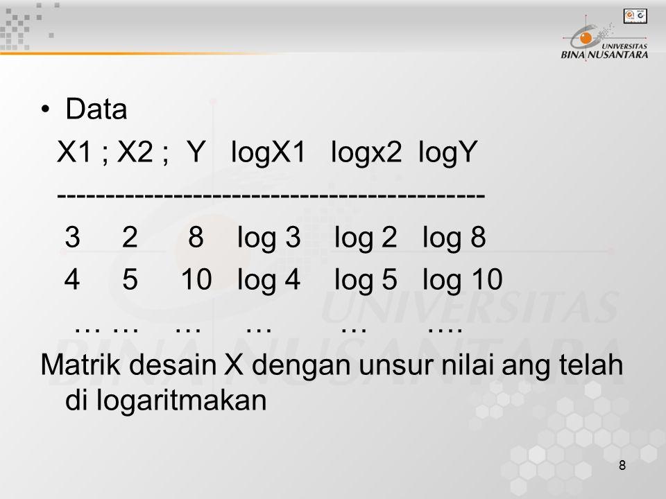 8 Data X1 ; X2 ; Y logX1 logx2 logY -------------------------------------------- 3 2 8 log 3 log 2 log 8 4 5 10 log 4 log 5 log 10 … … … … … …. Matrik